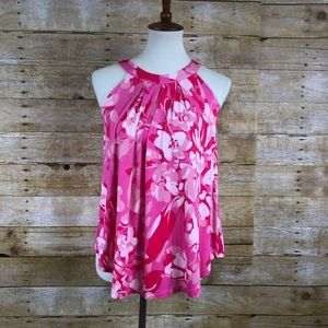 Cable & Gauge Pink Floral Sleeveless Blouse Sz S